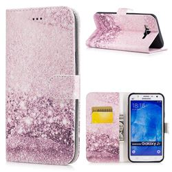 Glittering Rose Gold PU Leather Wallet Case for Samsung Galaxy J7 2015 J700