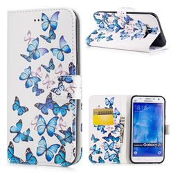 Blue Vivid Butterflies PU Leather Wallet Case for Samsung Galaxy J7 2015 J700