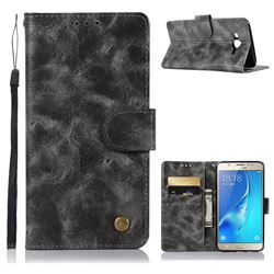 Luxury Retro Leather Wallet Case for Samsung Galaxy J7 2015 J700 - Gray