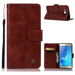 Luxury Retro Leather Wallet Case for Samsung Galaxy J7 2015 J700 - Wine Red