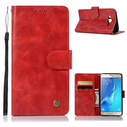 Luxury Retro Leather Wallet Case for Samsung Galaxy J7 2015 J700 - Red