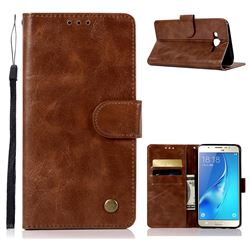 Luxury Retro Leather Wallet Case for Samsung Galaxy J7 2015 J700 - Brown