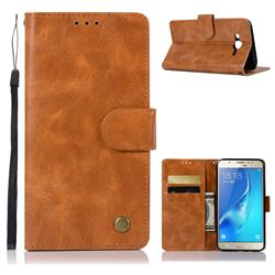 Luxury Retro Leather Wallet Case for Samsung Galaxy J7 2015 J700 - Golden