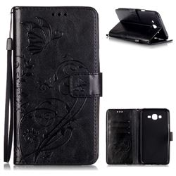 Embossing Butterfly Flower Leather Wallet Case for Samsung Galaxy J7 2015 J700 - Black