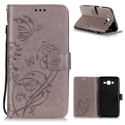Embossing Butterfly Flower Leather Wallet Case for Samsung Galaxy J7 2015 J700 - Grey