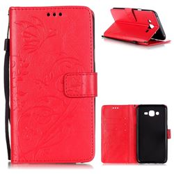 Embossing Butterfly Flower Leather Wallet Case for Samsung Galaxy J7 2015 J700 - Red