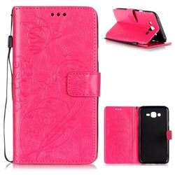 Embossing Butterfly Flower Leather Wallet Case for Samsung Galaxy J7 2015 J700 - Rose