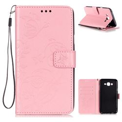 Embossing Butterfly Flower Leather Wallet Case for Samsung Galaxy J7 2015 J700 - Pink