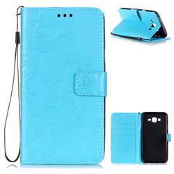 Embossing Butterfly Flower Leather Wallet Case for Samsung Galaxy J7 2015 J700 - Blue