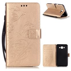 Embossing Butterfly Flower Leather Wallet Case for Samsung Galaxy J7 2015 J700 - Champagne