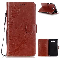 Embossing Butterfly Flower Leather Wallet Case for Samsung Galaxy J7 2015 J700 - Brown