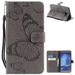 Embossing 3D Butterfly Leather Wallet Case for Samsung Galaxy J7 2015 J700 - Gray