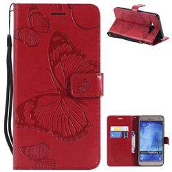 Embossing 3D Butterfly Leather Wallet Case for Samsung Galaxy J7 2015 J700 - Red