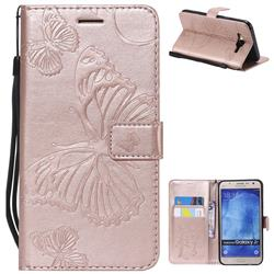 Embossing 3D Butterfly Leather Wallet Case for Samsung Galaxy J7 2015 J700 - Rose Gold