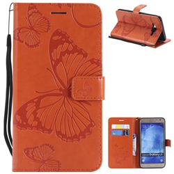 Embossing 3D Butterfly Leather Wallet Case for Samsung Galaxy J7 2015 J700 - Orange