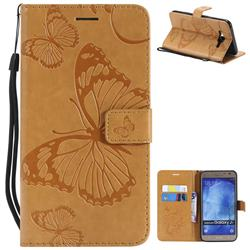 Embossing 3D Butterfly Leather Wallet Case for Samsung Galaxy J7 2015 J700 - Yellow