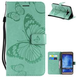 Embossing 3D Butterfly Leather Wallet Case for Samsung Galaxy J7 2015 J700 - Green