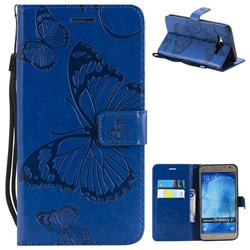 Embossing 3D Butterfly Leather Wallet Case for Samsung Galaxy J7 2015 J700 - Blue