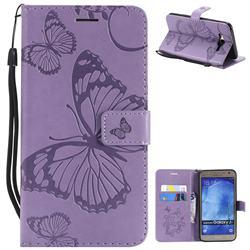 Embossing 3D Butterfly Leather Wallet Case for Samsung Galaxy J7 2015 J700 - Purple