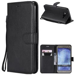 Retro Greek Classic Smooth PU Leather Wallet Phone Case for Samsung Galaxy J7 2015 J700 - Black