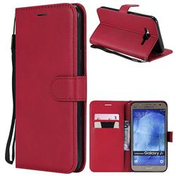 Retro Greek Classic Smooth PU Leather Wallet Phone Case for Samsung Galaxy J7 2015 J700 - Red