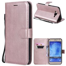Retro Greek Classic Smooth PU Leather Wallet Phone Case for Samsung Galaxy J7 2015 J700 - Rose Gold
