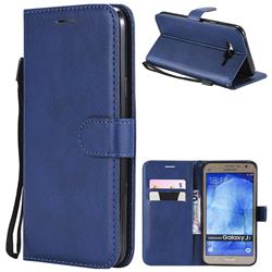 Retro Greek Classic Smooth PU Leather Wallet Phone Case for Samsung Galaxy J7 2015 J700 - Blue