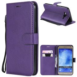 Retro Greek Classic Smooth PU Leather Wallet Phone Case for Samsung Galaxy J7 2015 J700 - Purple