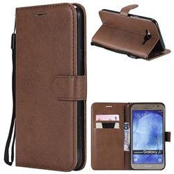 Retro Greek Classic Smooth PU Leather Wallet Phone Case for Samsung Galaxy J7 2015 J700 - Brown