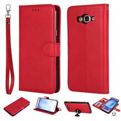 Retro Greek Detachable Magnetic PU Leather Wallet Phone Case for Samsung Galaxy J7 2015 J700 - Red