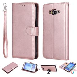 Retro Greek Detachable Magnetic PU Leather Wallet Phone Case for Samsung Galaxy J7 2015 J700 - Rose Gold