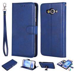 Retro Greek Detachable Magnetic PU Leather Wallet Phone Case for Samsung Galaxy J7 2015 J700 - Blue