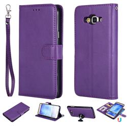 Retro Greek Detachable Magnetic PU Leather Wallet Phone Case for Samsung Galaxy J7 2015 J700 - Purple