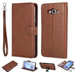 Retro Greek Detachable Magnetic PU Leather Wallet Phone Case for Samsung Galaxy J7 2015 J700 - Brown