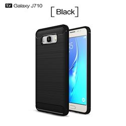 Luxury Carbon Fiber Brushed Wire Drawing Silicone TPU Back Cover for Samsung Galaxy J7 2016 J710 (Black)