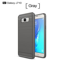 Luxury Carbon Fiber Brushed Wire Drawing Silicone TPU Back Cover for Samsung Galaxy J7 2016 J710 (Gray)
