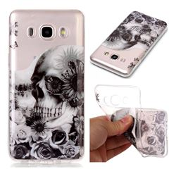 Black Flower Skull Super Clear Soft TPU Back Cover for Samsung Galaxy J7 2016 J710
