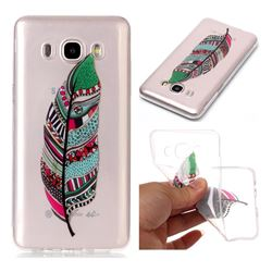 Green Feathers Super Clear Soft TPU Back Cover for Samsung Galaxy J7 2016 J710