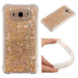 Dynamic Liquid Glitter Sand Quicksand Star TPU Case for Samsung Galaxy J7 2016 J710 - Diamond Gold