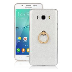 Luxury Soft TPU Glitter Back Ring Cover with 360 Rotate Finger Holder Buckle for Samsung Galaxy J7 2016 J710 - White