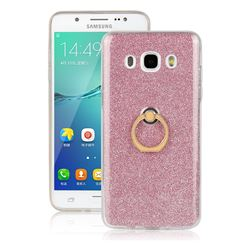 Luxury Soft TPU Glitter Back Ring Cover with 360 Rotate Finger Holder Buckle for Samsung Galaxy J7 2016 J710 - Pink
