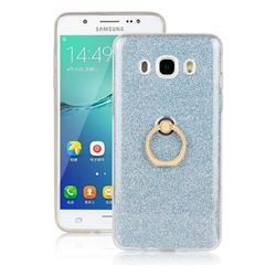 Luxury Soft TPU Glitter Back Ring Cover with 360 Rotate Finger Holder Buckle for Samsung Galaxy J7 2016 J710 - Blue