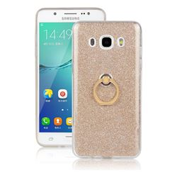 Luxury Soft TPU Glitter Back Ring Cover with 360 Rotate Finger Holder Buckle for Samsung Galaxy J7 2016 J710 - Golden