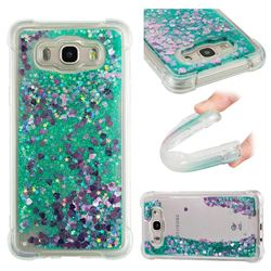 Dynamic Liquid Glitter Sand Quicksand TPU Case for Samsung Galaxy J7 2016 J710 - Green Love Heart