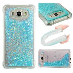 Dynamic Liquid Glitter Sand Quicksand TPU Case for Samsung Galaxy J7 2016 J710 - Silver Blue Star