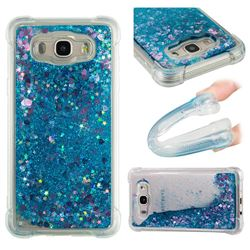 Dynamic Liquid Glitter Sand Quicksand TPU Case for Samsung Galaxy J7 2016 J710 - Blue Love Heart