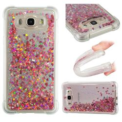 Dynamic Liquid Glitter Sand Quicksand TPU Case for Samsung Galaxy J7 2016 J710 - Rose Gold Love Heart