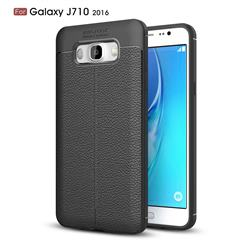 Luxury Auto Focus Litchi Texture Silicone TPU Back Cover for Samsung Galaxy J7 2016 J710 - Black