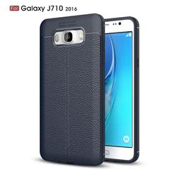 Luxury Auto Focus Litchi Texture Silicone TPU Back Cover for Samsung Galaxy J7 2016 J710 - Dark Blue