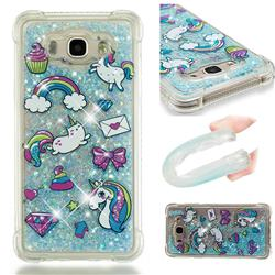 Fashion Unicorn Dynamic Liquid Glitter Sand Quicksand Star TPU Case for Samsung Galaxy J7 2016 J710